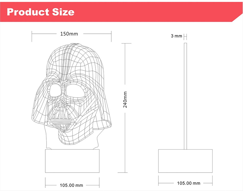 3D Visiual Darth Vader USB Led Night Light Star War Figure Touch Desk Table Lampara as Home Decor Lampe (4)