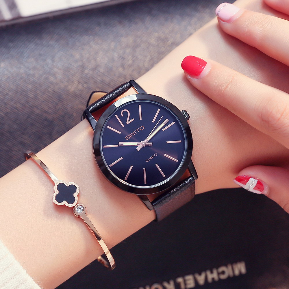 2018 GIMTO Brand Dress Women Watches Leather Strap Fashion Casual Quartz Ladies Watch Black Clock Montre Femme Relogio Feminino newly design dress ladies watches women leather analog clock women hour quartz wrist watch montre femme saat erkekler hot sale