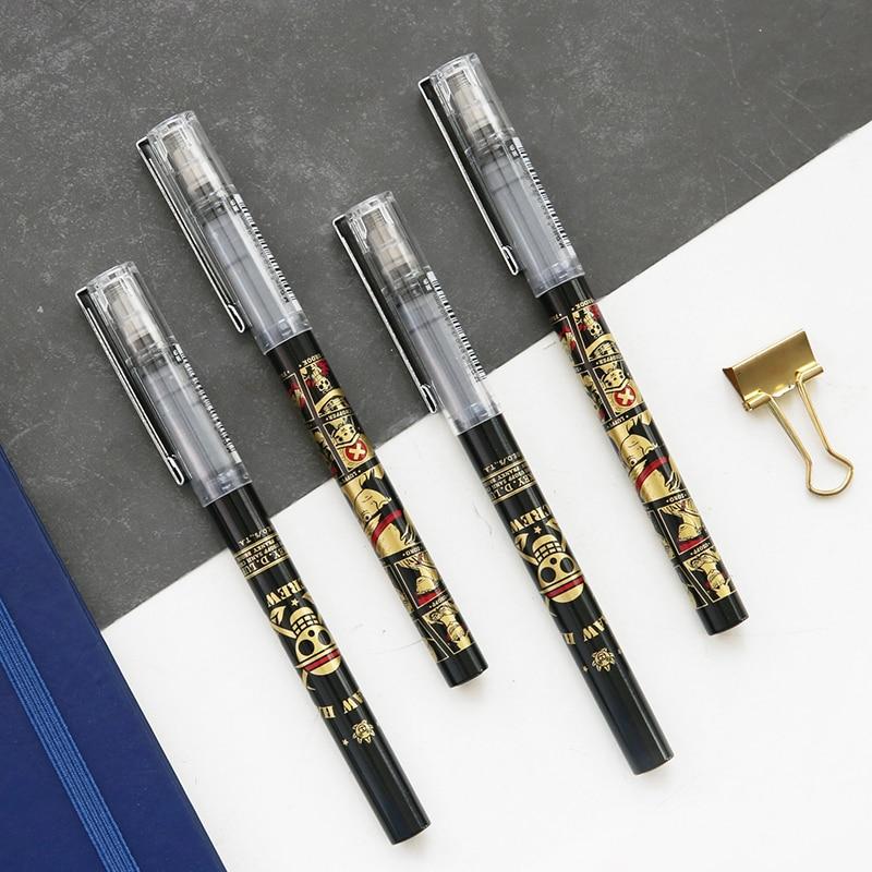 1pc One Piece Black Gold Gel Pen 0.5mm Cartoon Plastic Gel Pens For Writing Bullet Refill Office School Supplies Stationery