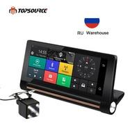 TOPSOURCE 6.86 Inch 3G Car DVR GPS Navigation 6.86 Android 5.0 dash cam Auto recorder Dual Lens cameras FHD 1080p car black box