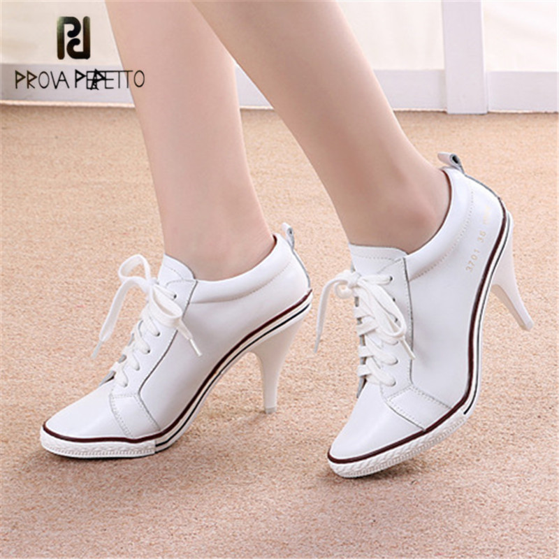 Prova Perfetto White Women Ankle Boots Lace Up High Heel Boot Female Genuine Leather Platform Short Booties Women Pumps Botas цена