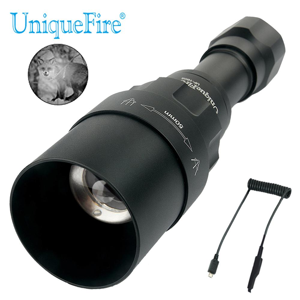 UniqueFire 1605 IR 940NM LED Flashlight 50mm Lens Infrared Light Night Vision Troch 3 Modes Rechargeable With Remote Control