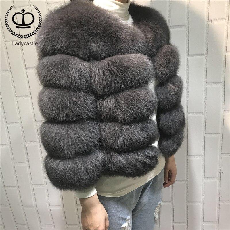 Las mujeres caliente Real de piel de zorro abrigo corto Slim de invierno de chaqueta de piel moda prendas de lujo Natural abrigo de piel de zorro para las chicas FC-034
