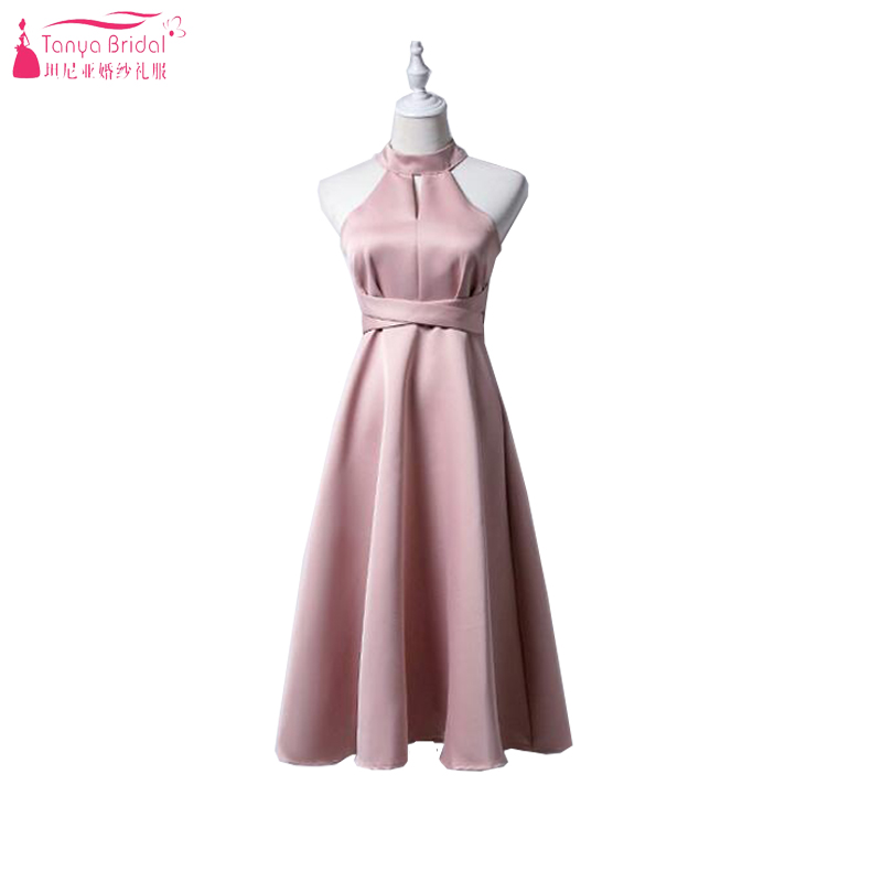 Tea Length Prom Dresses 2018 Blush Pink Soft Satin Simple Formal