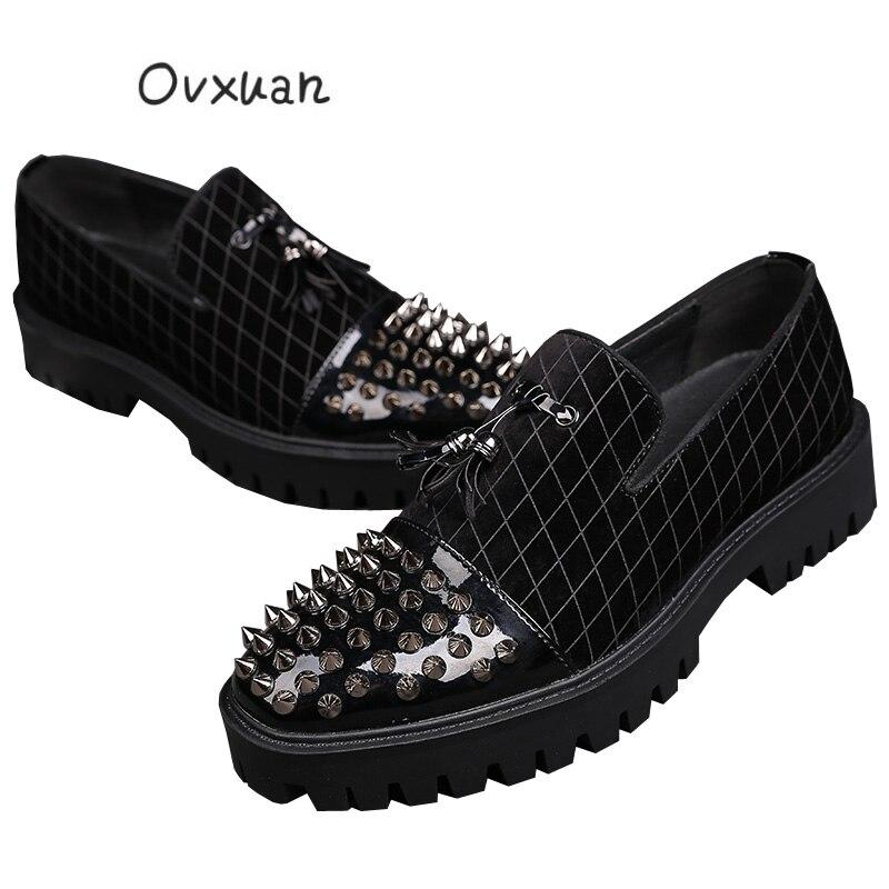 Hommes Noir Orteil Chaussures Mens Ovxuan En Punk Rivets Robe Oxford Parti Mariage Cuir Glands Italien Grille Richelieu De Mode Bal Casual knw0OP