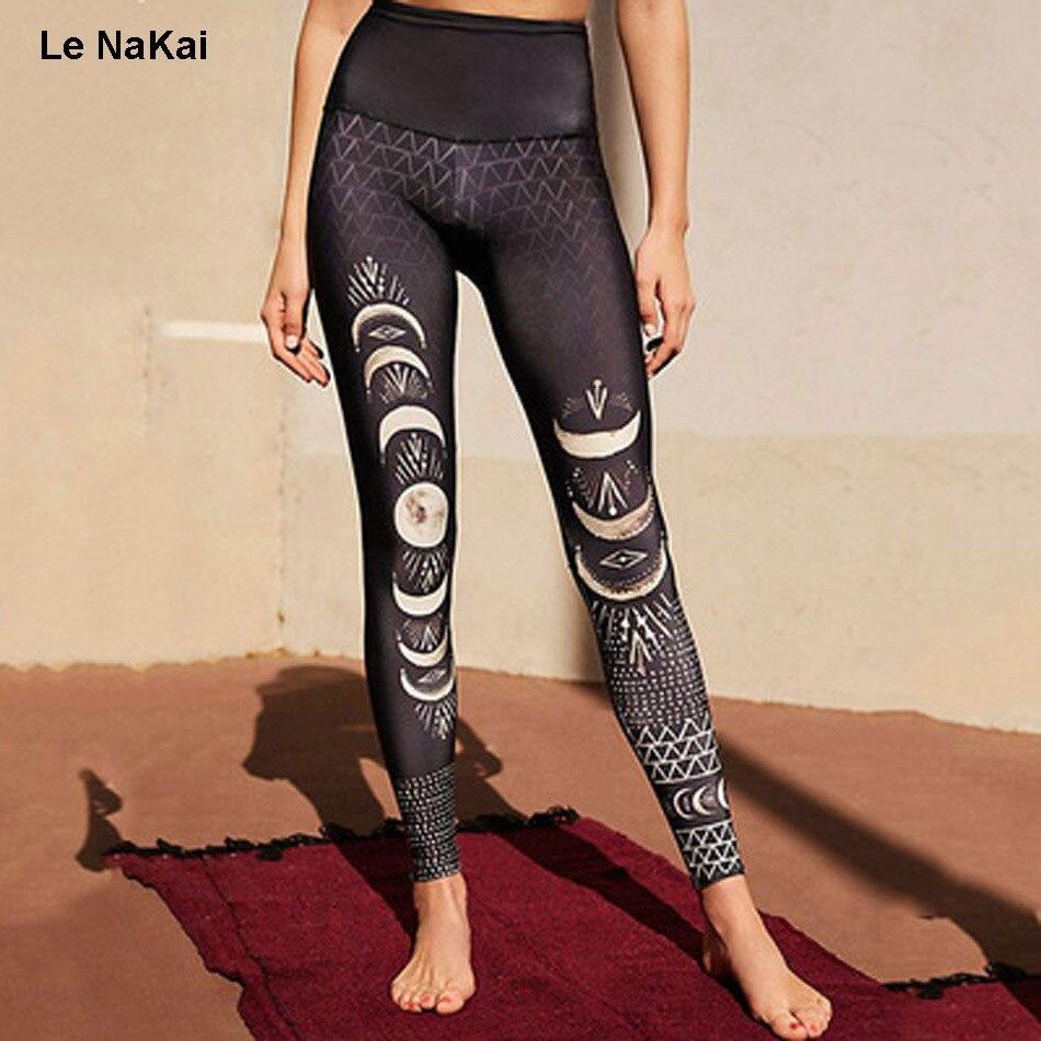 Le NaKai Retro moon eclipse print yoga pants moon shade art yoga legging black slim moon print gym tights workout sports pants