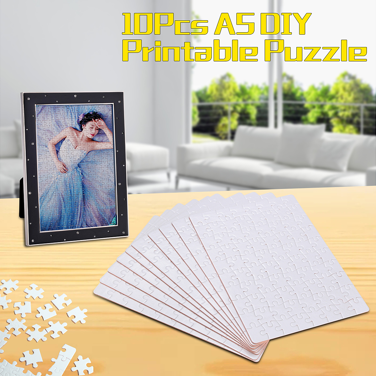 10x A5 DIY Blank Dye Sublimation Printable Jigsaw Puzzle For Heat Press Machine Unique Gift for Heat Press Transfer Paper