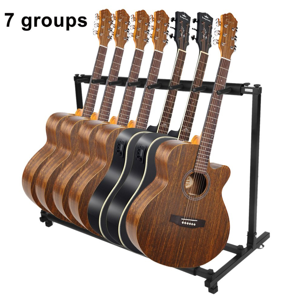Multiple Guitar Stand Universal Folding Display Holder Stand Rack For All Size Acoustic Guitar Bass 7 Holder Guitar Accessories цена