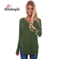 Dasbayla Women Loose T Shirt 2017 Winter Spring Solid V Neck Long Sleeve Patchwork Top Tees