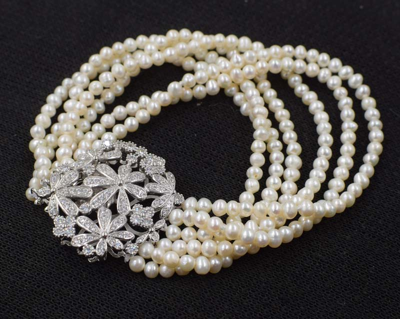 6rows wow! freshwater pearl  white baroque 4-5mm bracelet 8inch wholesale nature beads  FPPJ6rows wow! freshwater pearl  white baroque 4-5mm bracelet 8inch wholesale nature beads  FPPJ