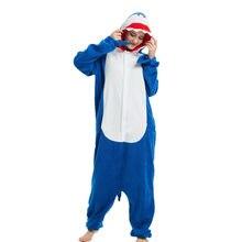Флис кигуруми синий Акула Костюм для взрослых для женщин мужчин s Onesie  пижамы Хэллоуина Карнавальная Вечерние f726d26f038ab