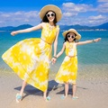 Beach Family Set Chiffon Long Mother Daughter Dress Mom and Daughter Dresses Clothes Family Matching Bohemian Clothing SP09