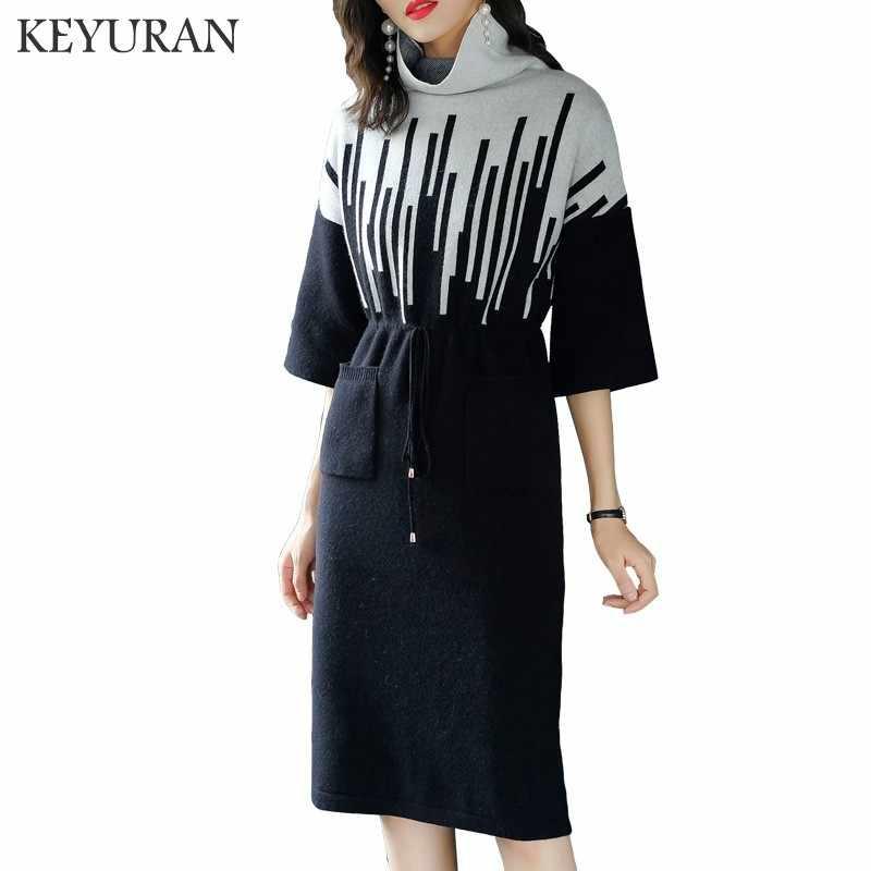 Женское трикотажное пикантное платье с бандажом, водолазка, платья-свитера, весна, осень, зима, большие размеры, женская одежда, vestidos mujer 2019