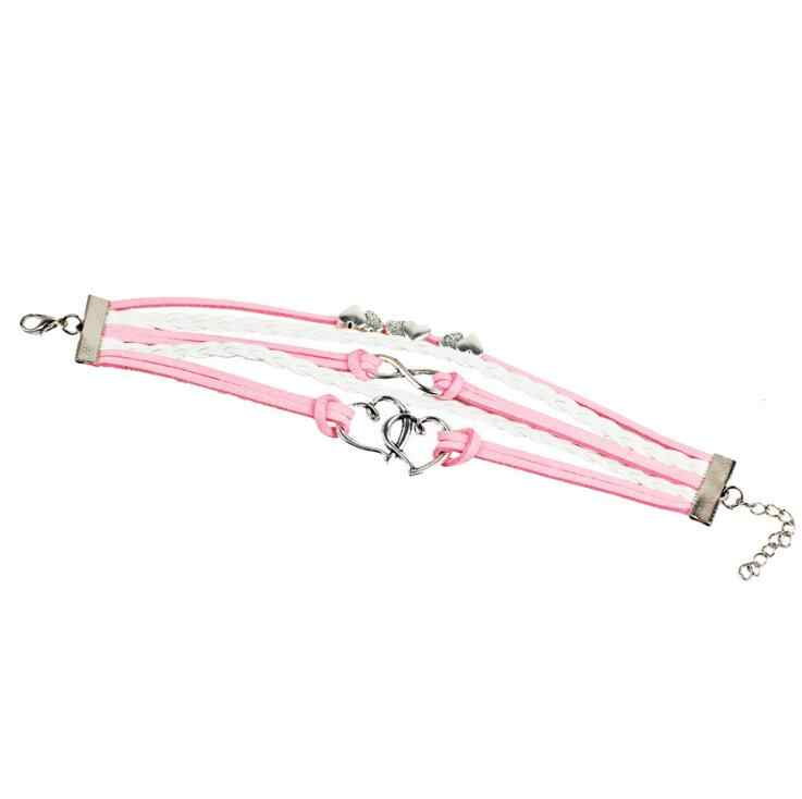 2018 new Cute vintage fashion owl big 8 Pink double Heart infinite multi-layer leather bracelet for women Nice gift jewelry
