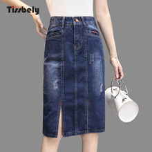 a01cae5b9b Tissbely Falda recta Jeans de cintura alta elástica lápiz derramada agujero  de la longitud de la rodilla