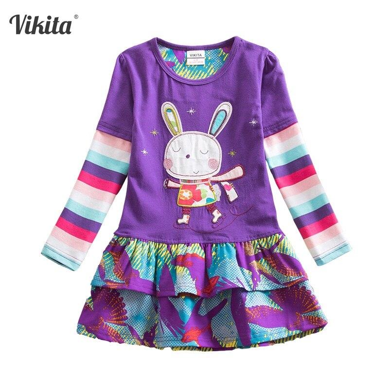 9207ae243b50f VIKITA enfants robes Vestidos pour filles enfants bébé filles robe  princesse lapin robes noël coton vêtements