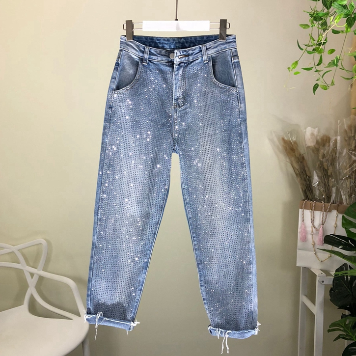 Loose   Jeans   Woman 2019 Spring New Fashion Heavy Industry High Temperature Small Hot Drill Loose Cowboy Harlan Pants Lady's   Jeans