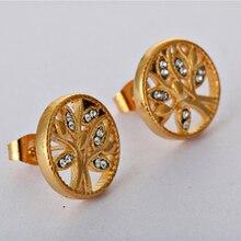 gold color tree Earrings cool earrings