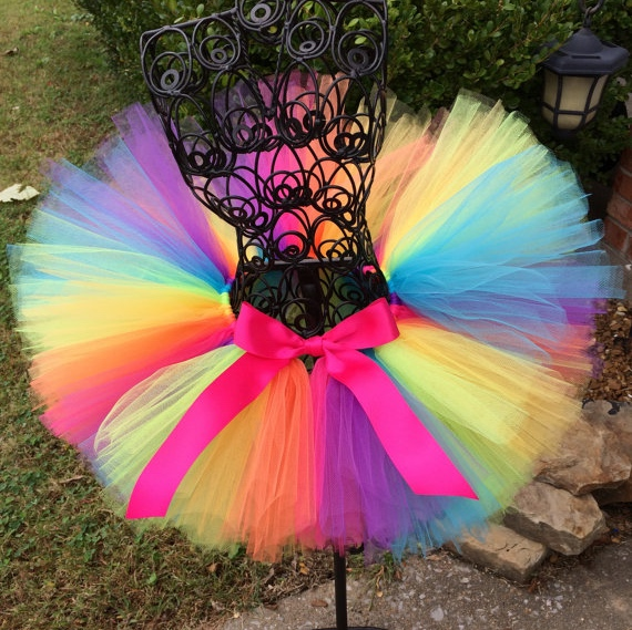 Rainbow Tutu Skirt Baby Girls Handmade Tulle Skirts Ballet Dance Pettiskirts Tutus With Pink Ribbon Bow Kids Party Costume Skirt