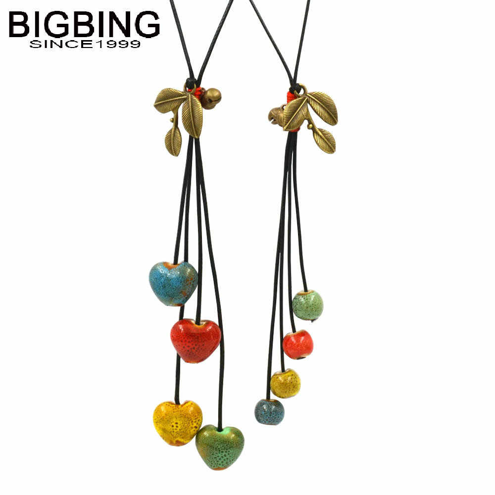 BIGBING fashion jewelry Hand knitting ceramic heart pendant necklace wholesale jewelry high quality   C154