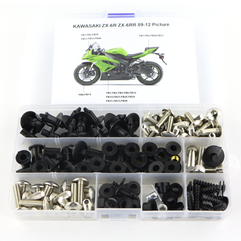 Black Complete Motorcycle Fairing Bolt Kit For Kawasaki Ninja ZX-6R and Hardware ZX-6RR 2005-2006 Body Screws Fasteners ZX636