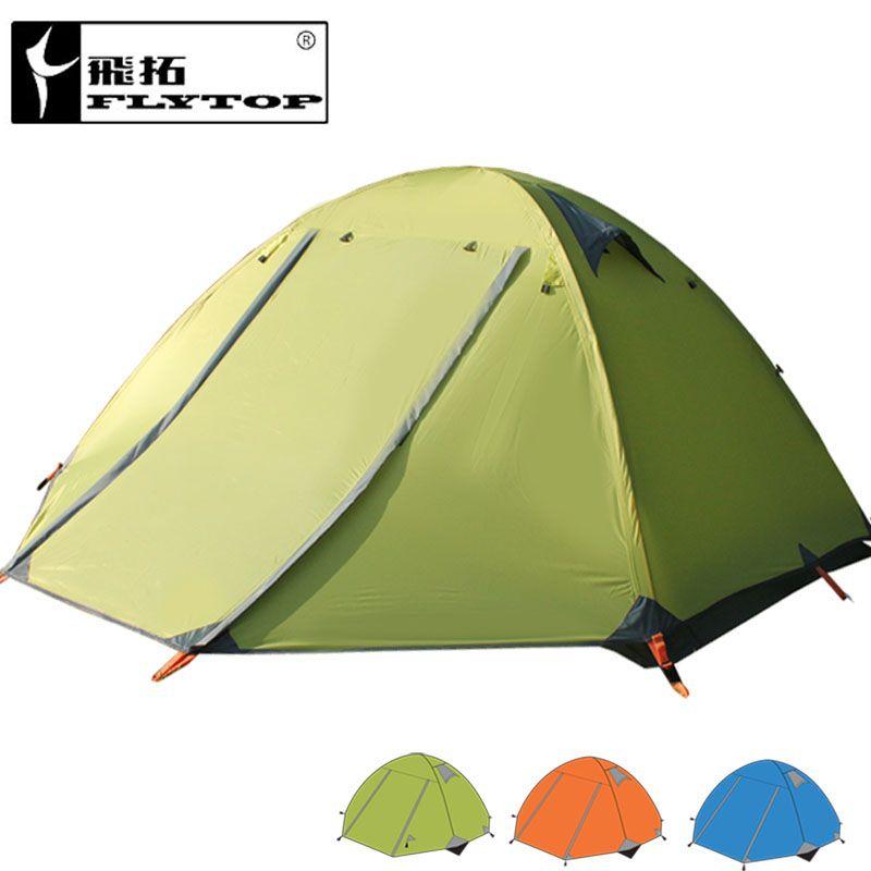FLYTOP camping extérieur 3 personnes tente double couches double portes en aluminium pôle anti-pluie vent