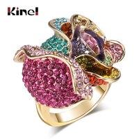 Gold Ringe Schmuck Österreichischen Kristall-elemente Bunte Rosen Blumen Ring Übertrieben Emaille Ring Schmuck Für Frauen