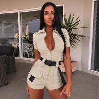 2019 Summer Women Overalls Casual Romper Jumpsuit Front Zipper Shorts Summer Cargo Pants Shirt Jumpsuit Female Khaki Playsuit