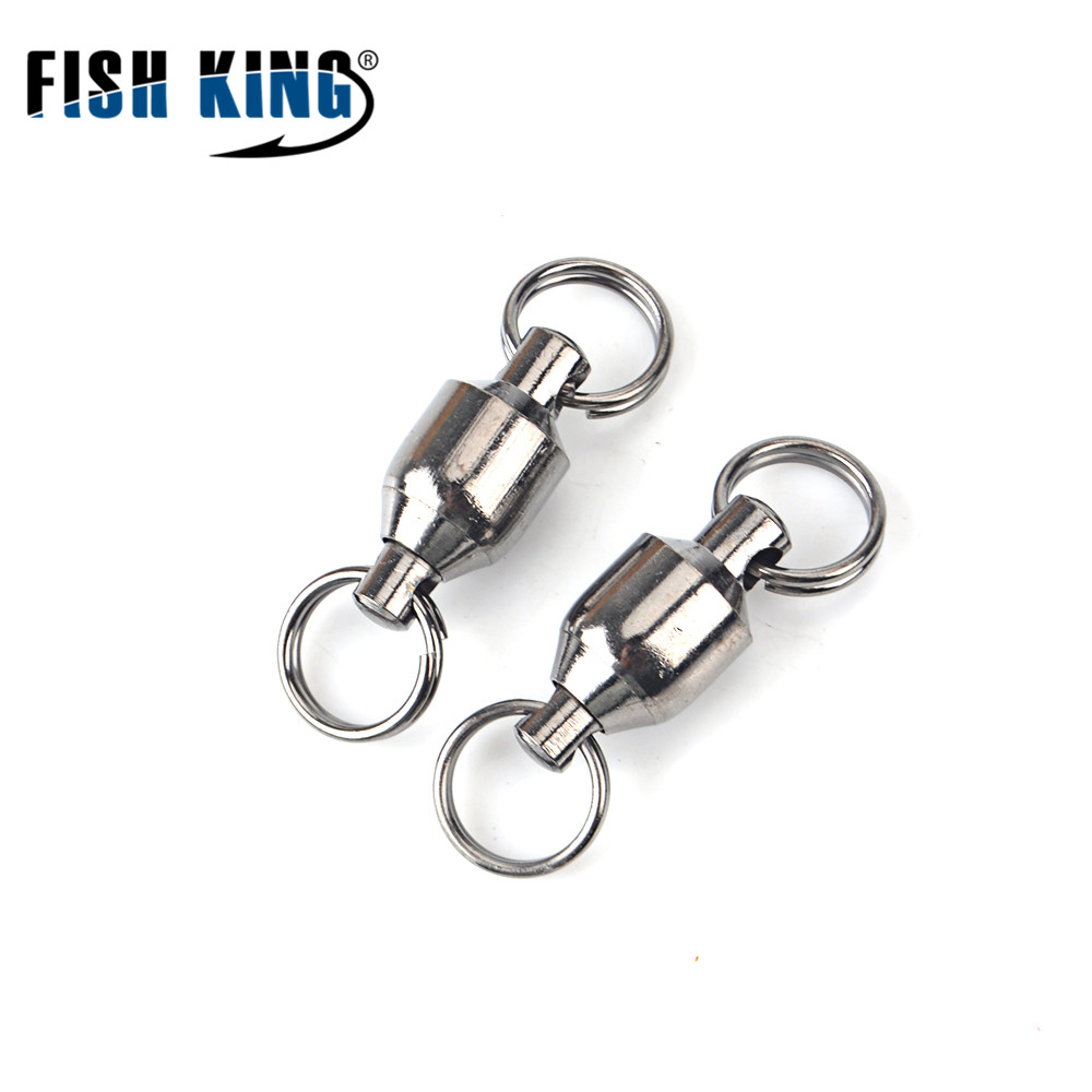 FISH KING Brand 1 Pack 1#-9# Ball Bearing Fishing Swivel With Split Ring Fish Hook Lure Connector Terminal Pesca Fishing Tackle рыболовный поплавок night fishing king 1012100014 mr 002