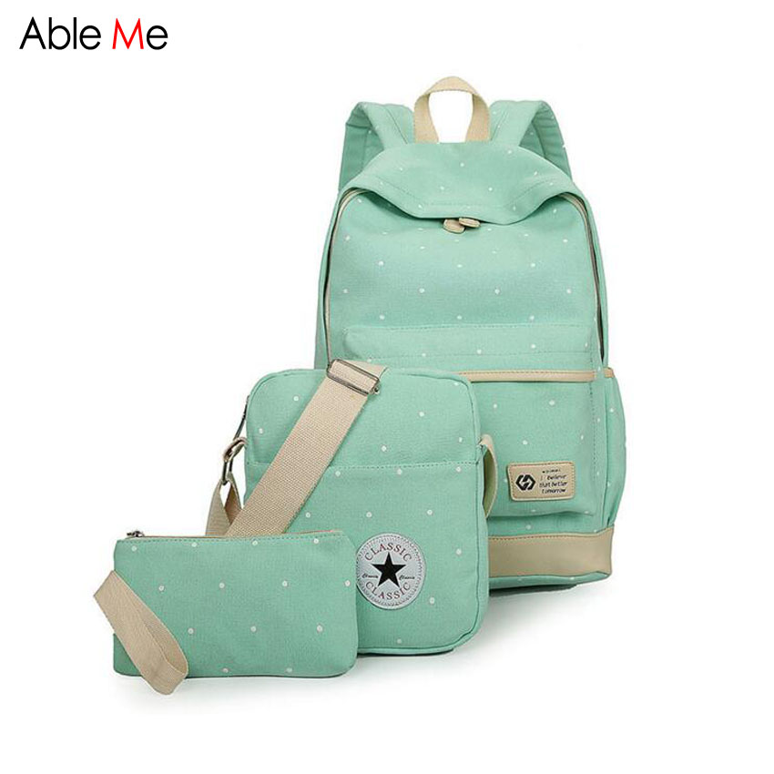 New 3pcs Set Canvas Women Backpack Dot School Bags Girls Student Laptop Bag Fashion Ladies School