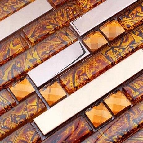 orange glass mosaic mixed stianless steel backsplash tiles for dining room  wall tiles hallway bedroom wall