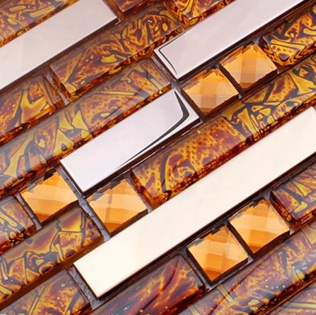 Orange Gl Mosaic Mixed Stianless Steel Backsplash Tiles For Dining Room Wall Hallway Bedroom In Stickers From Home Garden