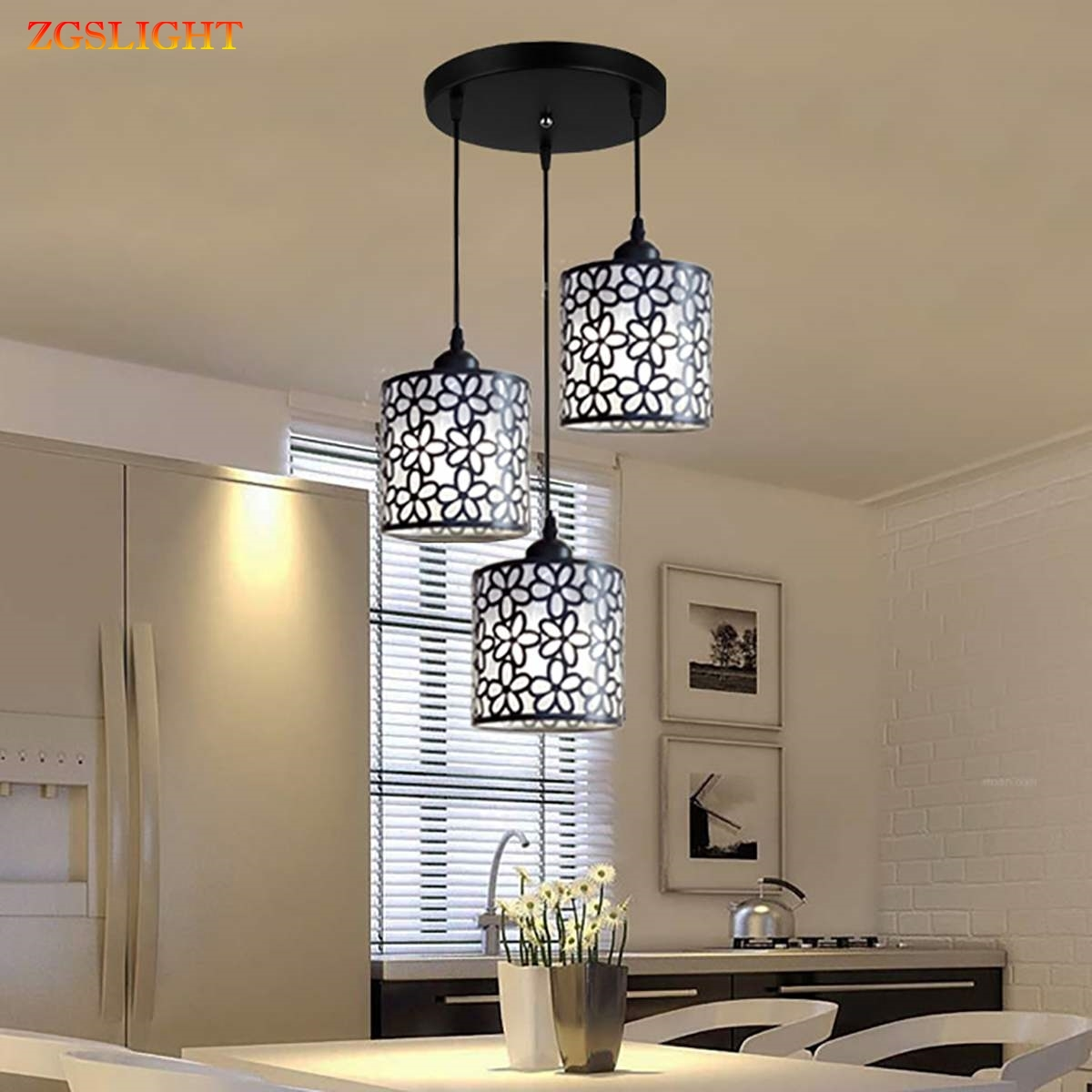 Nordic Modern Pendant Lights Fixtures Iron Hollow Out Chandelier Pendant Lamp Home Decoration For Dining Room Bedroom Shop Bar