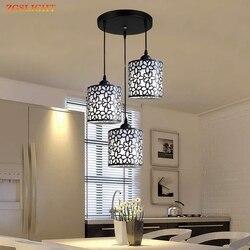 Nordic nowoczesne lampy wiszące lampy żelaza Hollow Out lampa wisząca z żyrandolem dekoracji wnętrz do jadalni sypialnia sklep Bar w Wiszące lampki od Lampy i oświetlenie na