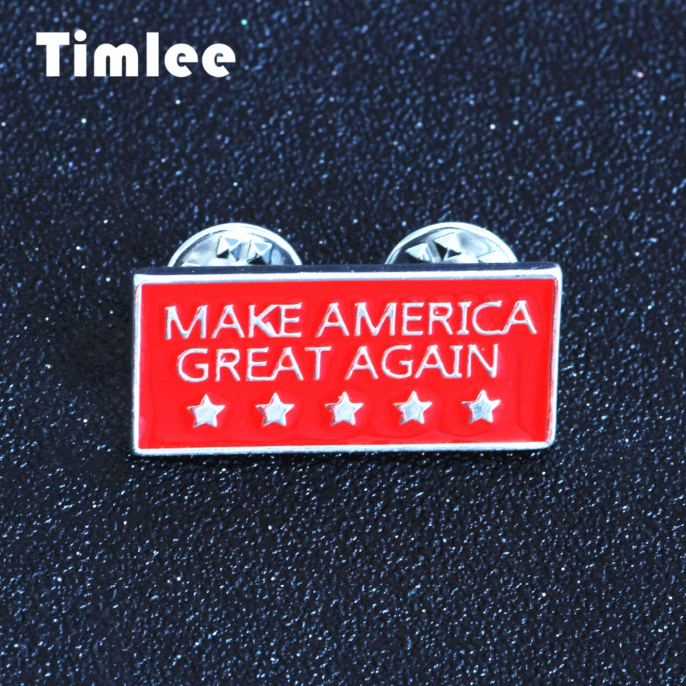 Timlee X275 USA Flag Enamel Pins Make America Great Again Alloy Prossid, Fashion Jewelry Wholesale