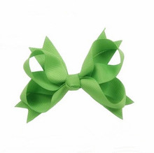 100pcs/lot Green Grosgrain Ribbon Hair Bows with glitter HairBows/Hair Clips/Hair Pins Accessories for girls
