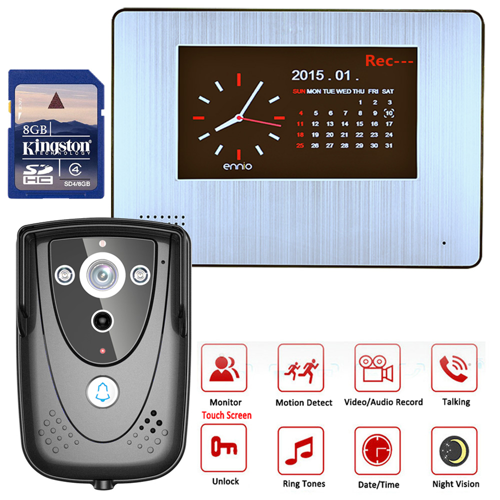 Mountainone 900TVL 7 DVR Color Touch Screen Video Door Phone with PIR Record intercom System IR camera With 8G SD card 98 inch monitor ir touch screen 2 points infrared touch screen panel ir touch screen frame overlay with usb