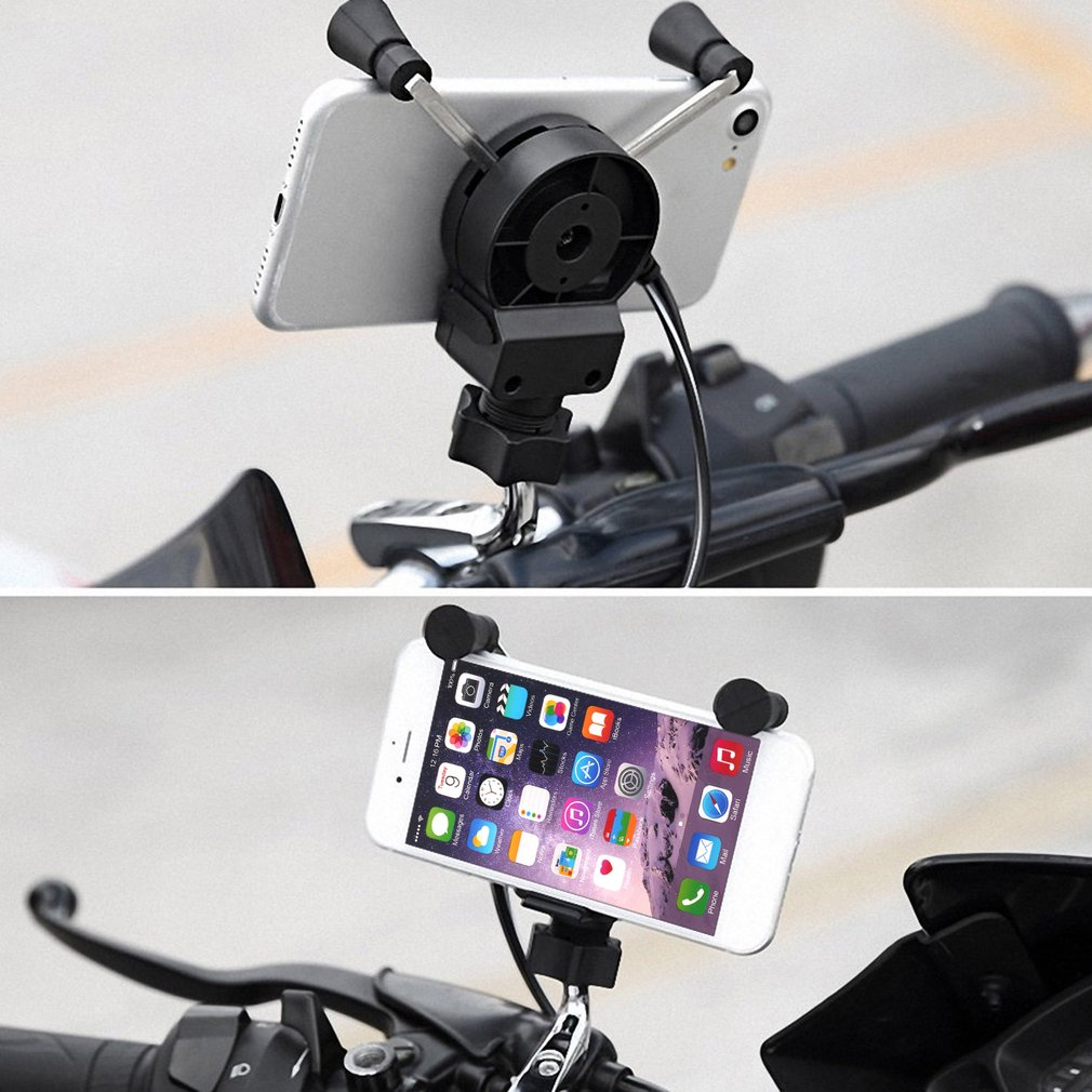 Universal Bike Phone Mount /Motorcycle Rotating Cell Phone Stand Mount Holder with USB Charging Port for GPS