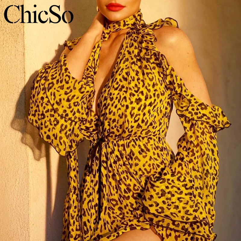 Missychilli Leopard print chiffon women playsuit Cold shoulder V neck ruffle sexy romper Party bandage summer   jumpsuit   overalls