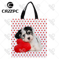Red Dot Love Cute Lovely dogs Pet Print individual Nylon Oxford Reusable Shopping Bag Gift Foldable Bag Eco Bag Pack of 2