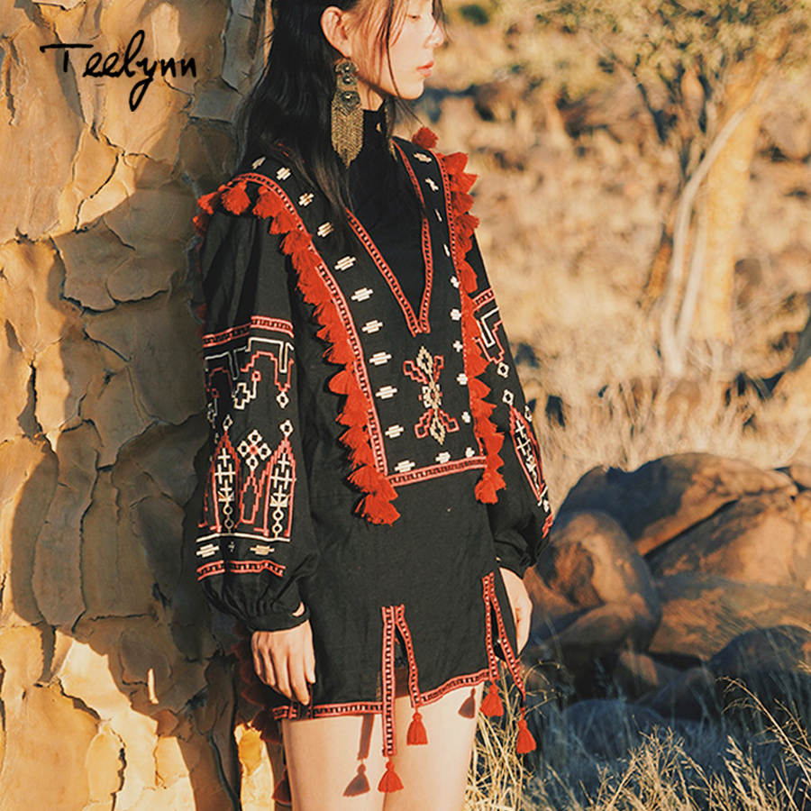 TEELYNN black Boho blouse 2018 autumn Ethnic embroidery V neck puff long sleeve Blouses Shirt Casual blouse Hippie Women blusas