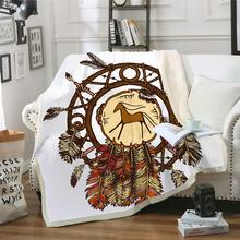 Feathers Throw Blanket Indian Sherpa Plaid Bedspread Dreamcatcher Home Textiles Cobertor Vintage Bedding