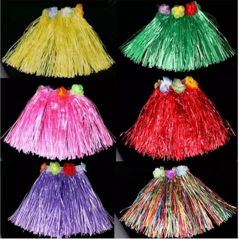 New!Grass Skirt Performance Children Hawaiian Skirt Flower Wreath Hula Dance Performance Wedding Decoration Party Decoration-B