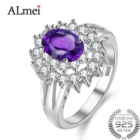 Almei Certified 0 5CT Natural Amethyst Ring For Women Gemstone Sale 2017 Flower Rings Diamond 925
