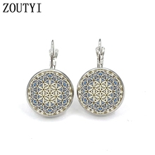 New/glamour retro fashion bohemian ethnic style sun flower earrings, convex and concave glass ladies earrings.