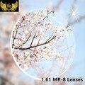 1.61 Super Resistente Asféricas MR-8 Lente CR39 Resina Miopia Prescrição de Lentes de Qualidade Perto de Visão Óculos de Lente Para Óculos Sem Aro