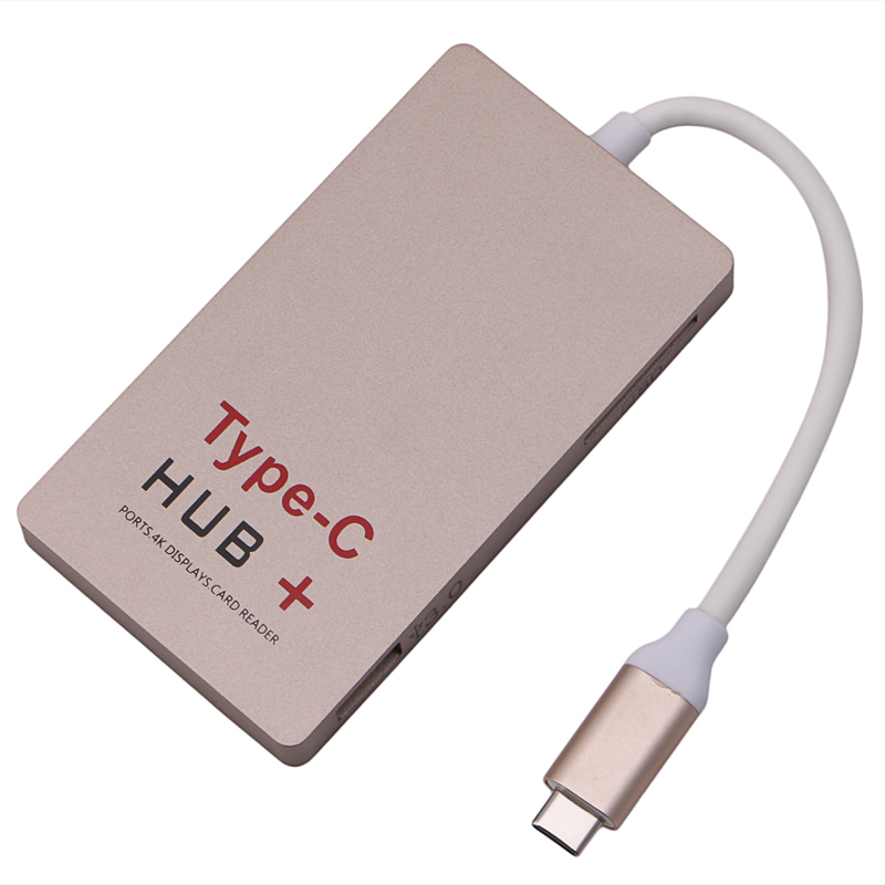 New Arrival for Type-C to 4K High Definition Multimedia InterfaceUSB 3.0 HUB & USB-C Charging & SD USB 3.1 Card Reader Adapter 668 usb 3 1 type c card reader