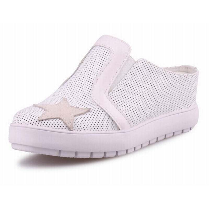 Womens Summer Casual Genuine Leather Sandals Closed Toe Slides for Fashion Slippers White Comfortable Height Increasing Shoes mmnun 2017 boys sandals genuine leather children sandals closed toe sandals for little and big sport kids summer shoes size26 31
