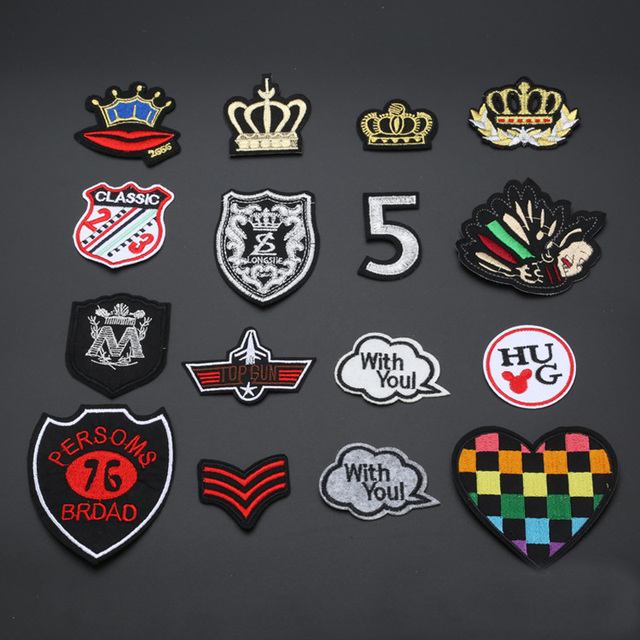 US $0 43 |1PC/Lot Crown Appliques Embroidered Patches/badge For phone shell  decoration Clothing accessories Iron on Patches-in Patches from Home &