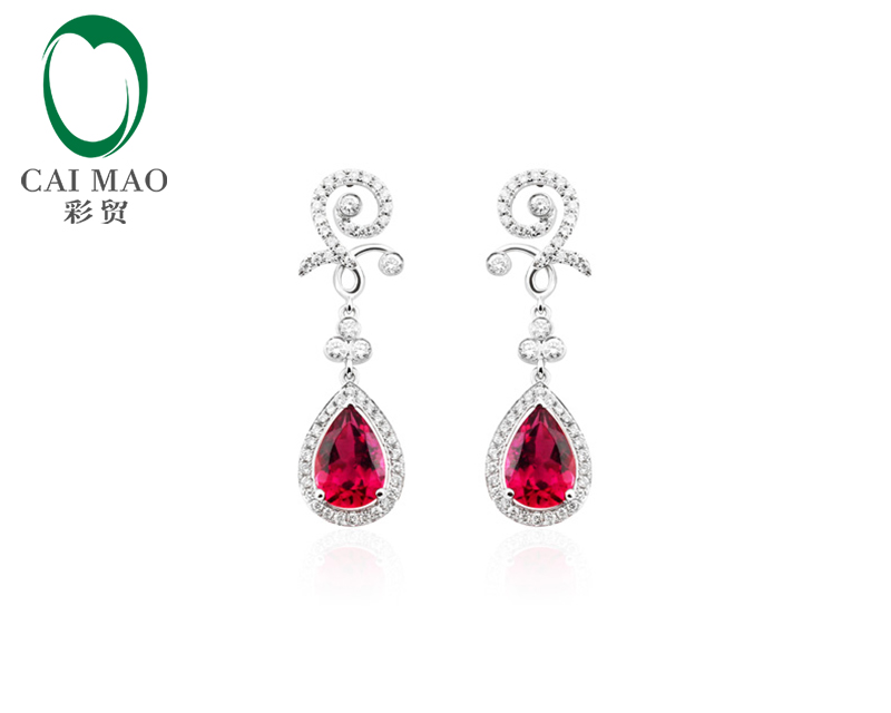 Caimao Jewelry 14KT White Gold 6x8mm Pear Cut 1.82ct Pink Tourmaline & 0.56ct Diamond Engagement Earrings free shipping